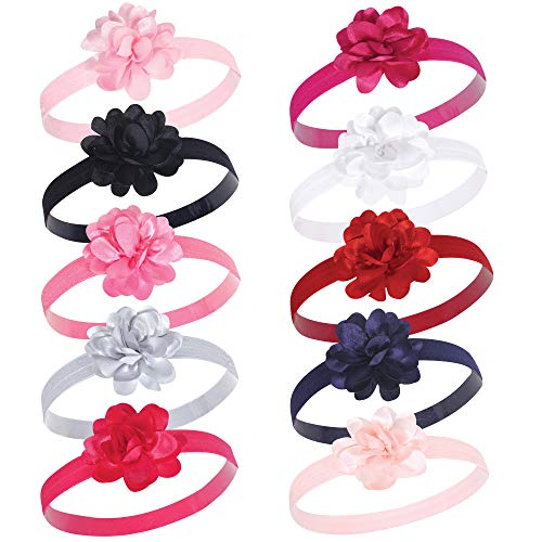 Hudson Baby Baby Girls Flower Headband, satin pink/black 10 Pack, One Size