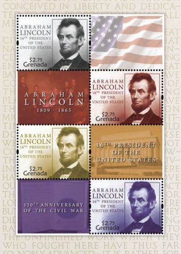Abraham Lincoln -16th President - 150th Anniversary of The Civil War - Collectors Stamp - Grenada