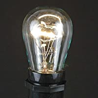 Novelty Lights, Inc. 11-S14-CL Commerical Grade S14 Replacement Bulbs, E27 Medium Base, Clear, 11 Watt, by Novelty Lights
