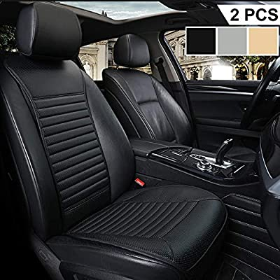 Big Ant Car Seat Cushion, Sleek Design Full Size 2 PCS Breathable Universal Four Seasons Interior Front or Back Seat Covers for Auto Supplies Office Chair with PU Leather(Black): Home & Kitchen