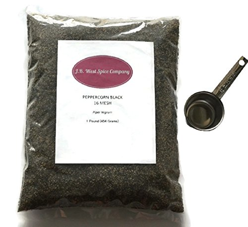 J. B. West Spice Company Black Peppercorn (piper nigrum) 16 Mesh 1 lb. Bag and Scoop by J.B. West Spice Company