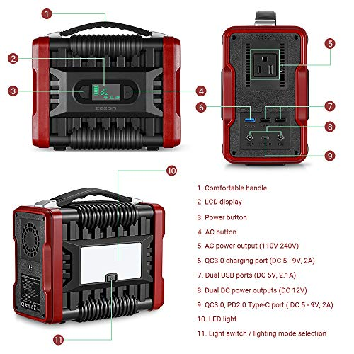 ZEEPIN Portable Power Station Generator, 222Wh Emergency Backup Lithium Battery with AC DC, QC3.0USB Ports, LED Flashlights, 110V 200W Peak 320W Great Solar Generator for CPAP Outdoors Travel Camping