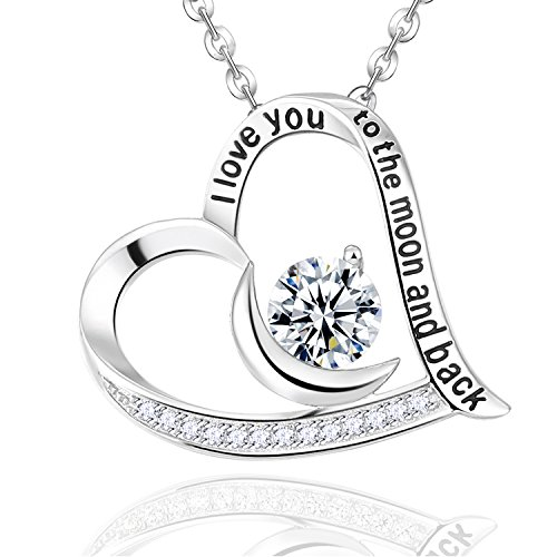 ELDA & CO. Christmas Necklace Birthday Gifts Mom Wife Simulated Diamond Jewelry Women Girls I Love You to the Moon and Back Pendant Sterling Silver Anniversary Gifts for Her