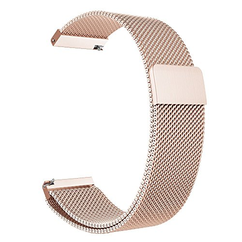 18mm Watch Band Baoking Magnetic Clasp Adjustable Milanese loop Mesh Stainless Steel Metal Replacement Strap Bracelet For Smart Watch Huawei/Fossil Q/Withings (Rose Gold,18mm)
