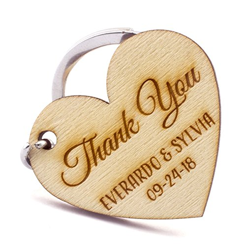 Summer-Ray 50 Personalized Natural Wooden Laser Engraved Heart Keychain Wedding Favors -