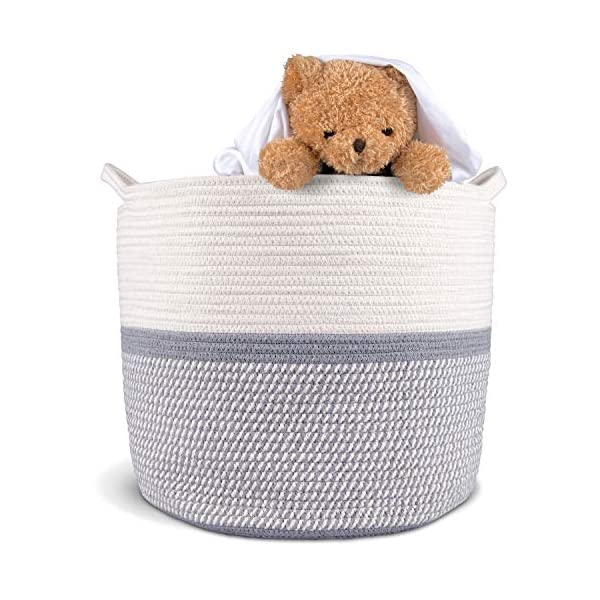 Cotton Rope Storage Basket – Large, Soft, Woven Large Baskets for Blankets and Living Room. Optimal Size, Easy to Fold Rope Baskets for General Use and Organization. Safe, Non-Toxic
