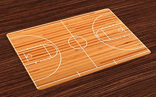 Standard Floor Monitor (Lunarable Sports Place Mats Set of 4, Standard Floor Plan on Parquet Backdrop Basketball Court Playground Print, Washable Fabric Placemats for Dining Room Kitchen Table Decor, Pale Brown White)