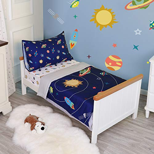 TILLYOU 5 Pieces Space Theme Toddler Bedding Set (Quilt, Fitted Sheet, Flat Sheet, Pillowcases) – Microfiber Printed Nursery Bedding for Boys Girls, Navy Blue