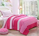 HNNSI 100% Cotton Kids Girls Quilt Comforter Set Queen Size 3 Piece, Children Teens Stripe Bedspread Bedding sets for Girls(Queen, Red pink white stripes)