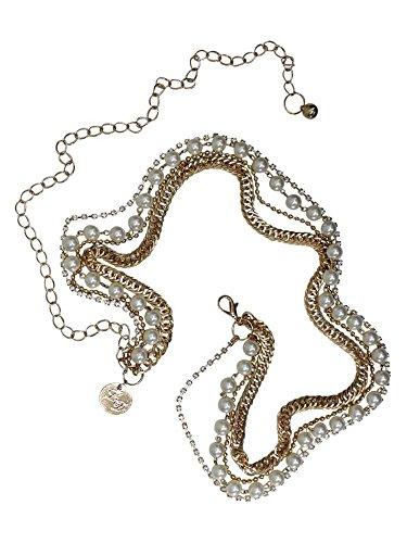 Gold Body Jewelry 4 Strands Rhinestones Pearls Chain Belt