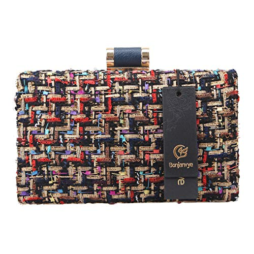 Bags Designer Bonjanvye Clutches Clutch Women For Fabric Weave And Noir Evening wf1qfpCy