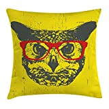 Ambesonne Modern Throw Pillow Cushion Cover, Owl with Glasses Portrait Hipster Nocturnal Animal Grunge Humor Graphic, Decorative Square Accent Pillow Case, 18 X 18 Inches, Dark Grey Yellow Red