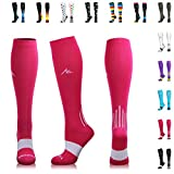 NEWZILL Compression Socks (20-30mmHg) for Men & Women - Best Stockings for Running, Medical, Athletic, Edema, Diabetic, Varicose Veins, Travel, Pregnancy, Shin Splints. Pink - Medium (1 Pair)