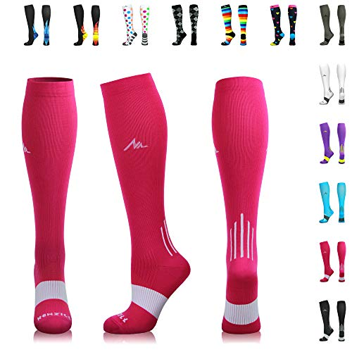 (NEWZILL Compression Socks (20-30mmHg) for Men & Women - Best Stockings for Running, Medical, Athletic, Edema, Diabetic, Varicose Veins, Travel, Pregnancy, Shin Splints. Pink - Large (1 Pair))
