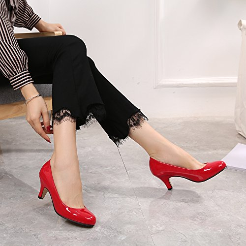 OCHENTA Women's Round Toe Kitten Heel Dress Work Party Pumps Red-Patent 6SmK2h