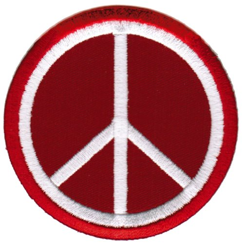 (Peace Sign Embroidered Patch Anti-War Hippie Iron-On Symbol Red)