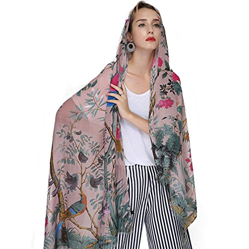Femme Scarf Women Cotton Linen Print Shawls Scarves Large Pashmina Floral Tree Bird Bandana Head - Scarf Linen Cotton Prints
