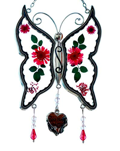 Cos2be Butterfly Suncatcher with Pressed Flower Wings in Glass Ornament for Window Silver Metal Wind Engraved Charm - Gifts for Sister Mom Grandma Birthdays Christmas St.Patrick's Day with Gift Boxes ()