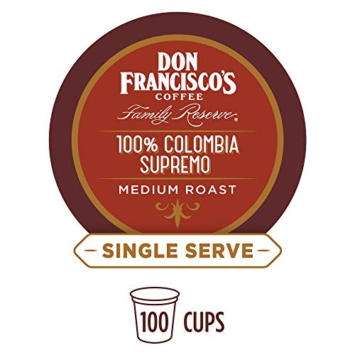 Don Francisco's 100% Colombia Supremo (100 Pods) Medium Roast, Single Cup Coffee Pods, Compatible with Keurig K-Cup Machines