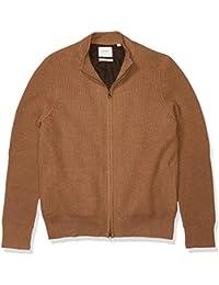 Men's Fully Lined Camelhair Zip Up Mock Neck Cardigan Sweater