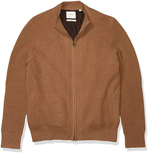 Billy Reid Men's Fully Lined Camelhair Zip Up Mock Neck Cardigan Sweater