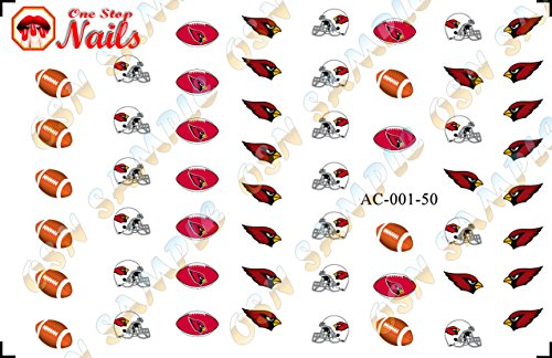 Arizona Cardinals Waterslide nail decals (Tattoos) V1 (Set of 50) ()