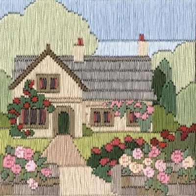 Derwentwater Designs Rambling Rose Cottage Long Stitch Kit
