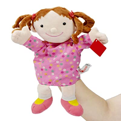 TOYANDONA Plush Puppet Toy Character Doll Family Member Hand Puppets for Children Kids Birthday Gift 30CM (Pink Girl): Toys & Games