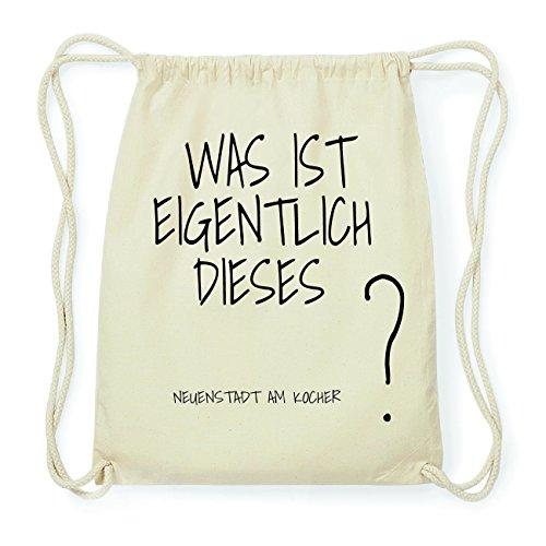 JOllify NEUENSTADT AM KOCHER Hipster Turnbeutel Tasche Rucksack aus Baumwolle - Farbe: natur Design: Was ist eigentlich VmIyz