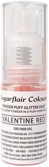Sugarflair Essbar Pulver Puff Funkeln Nicht-Aerosol Spruhen 10g VALENTINE ROT