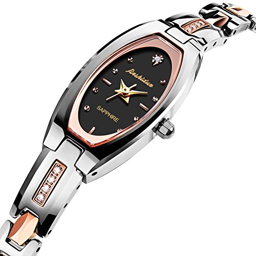 JSDUN Ladies Elegant Square Oval Dial Slim Bracelet Wrist Watches, Luxury Brand Silver/Rose Gold/Gold/Black Tungsten Steel Dress Watches for Mother's Day Wife, Waterproof Quartz Beauty ()
