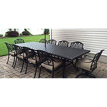 Merveilleux Patio Furniture Outdoor Elisabeth 11 Piece Dining Set Cast Aluminum Desert  Bronze