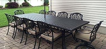 Patio Furniture Outdoor Elisabeth 11 Piece Dining Set Cast Aluminum Desert  Bronze