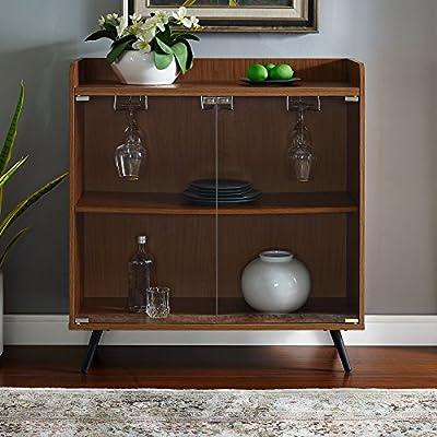 ea172297848b7 Amazon.com  WE Furniture Mid Century Modern Bar Cabinet w Storage    Stemware Rack