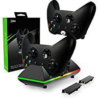 Xbox One Controller Charger, CVIDA Dual Xbox One/One S/One Elite Charging Station with 2 x 800mAh Rechargeable Battery Packs for Two Wireless Controllers Charge Kit– Black