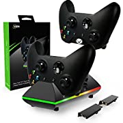 #LightningDeal 95% claimed: Xbox One Controller Charger, CVIDA Dual Xbox One/One S/One Elite Charging Station with 2 x 800mAh Rechargeable Battery Packs for Two Wireless Controllers Charge Kit– Black