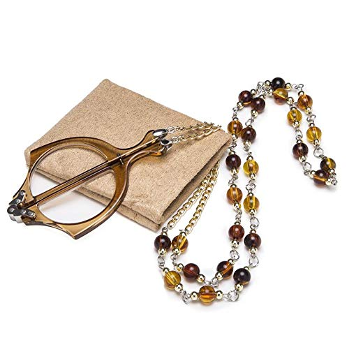 Eyekepper Mini Folding Reading Glasses Pendant Necklace Magnifier, Champagne +1.5