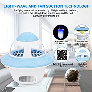 Sunnest Bug Zapper Electronic Indoor Insect Killer, Mosquito Killer, Mosquito Trap, USB Powered LED Mosquitoes Catcher Killer Trap with Fan, Eco-friendly Night Lamp for Home Bedroom Kitchen