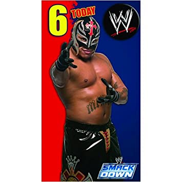 Wwe Wrestling Age 6 Birthday Card With Badge 6th Amazon