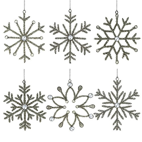 Snowflake Glass Christmas Ornaments - Set of 6 Handmade Snowflake Iron and Glass Decor Valentine Ornaments, 6 Inches