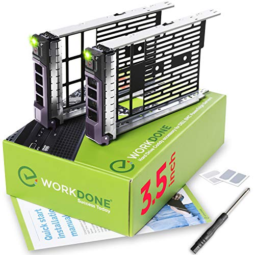 WorkDone 2-Pack - 3.5 inch Hard Drive Caddy - Compatible for Listed Dell PowerEdge Servers - with Detailed Installation Manual - Sled Front Sticker Labels - Screwdriver- Added Tray - Drive Plug Sled