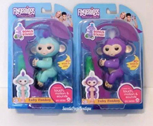 Fingerlings Zoe Baby Monkey Interactive Pet   Turquoise And Fingerlings   Interactive Baby Monkey   Mia Pet Purple Bundle