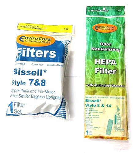 (1 Set) Bissell Vacuum style 7/8/14 Foam Filter Kit 3093 Cleanview type Part # 203 1073, 3290, 203 1085, 203 1192 & Bissell Style 8, 14 Pleated Post Motor Filter, 3910 Series