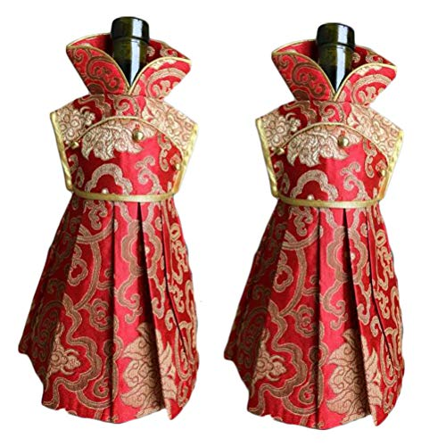 - OOCC 2Pcs Chinese Brocade Dress Wine Bottle Cover China Dress Cheongsam Wine Bags Champagne Bags for Party Christmas Decorations Hotel Bar Kitchen Table Decor (Red-F)