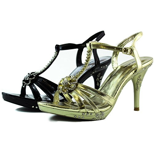 Platform Buckles Women's Dress Heel Fashion Shoes Ankle Strap Gold High Toe With Open Sandals Evening aqqg8TUd