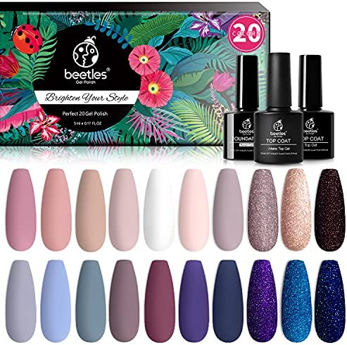 Beetles 23 Pcs Gel Nail Polish Kit, with Glossy & Matte Top Coat and Base Coat- Girls Night Collection Popular Elegant White Nude Gray Glitters Soak Off Gel Polish Mother's Day Gift