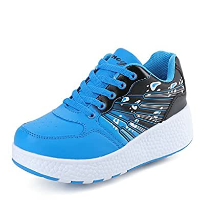 Chic Sources Boys Girls Two Wheels Roller Skate Shoes Kids Sports Sneaker US Little Kid 1 Blue