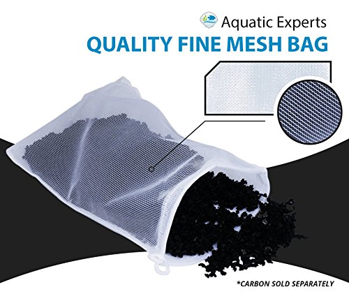 "Aquatic Experts Fine Mesh Filter Media Drawstring Bags - 8"" by 12"" - 3 pack - 100% Nylon pouches are ideal bulk aquarium filtration - Custom chemical media filter bag designed for USA"