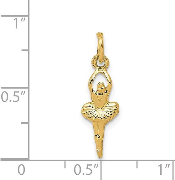 14K Yellow Gold Charm Pendant Themed 18.9 mm 12.6 Ballerina