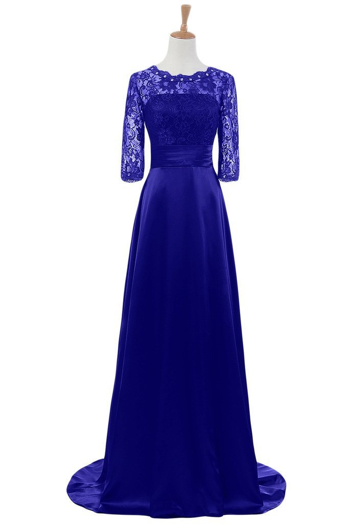 Snowskite Women's Half Sleeves Lace Satin Mother of the Bride Groom Dress Royal Blue 12